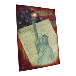 Zeckos - Statue of Liberty LED Accent Printed Canvas Wall Hanging - This beautiful printed canvas features images of the Statue of Liberty, the American flag, and the US constitution with a perfectly placed flickering LED light behind the torch flame to bring it to life. It measures 20 inches tall, 14 inches wide, and has 2 hanging slots cut into the wooden frame so it easily mounts to any wall. The light is powered by 2 AA batteries (not included), are controlled by an inconspicuous on/off switch on the side of the canvas, and unsightly wires are concealed and contained by the vinyl backing. This piece is a lovely accent in any room or office, and makes a wonderful gift for a patriotic friend.