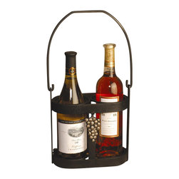 J&J Wire - Strap Iron Wine Bottle Caddy - Wine not included. Heavy strap iron construction. Welded fabrication. Decorative antique gold grapes. Holds two bottles. Sturdy handle. Made from sturdy wrought iron. Rich black powder coated finish. Made in USA. No assembly required. 9 in. W x 4 in. D x 9 in. H (4 lbs.)This product is a perfect complement when gift-giving two bottles of wine. Constructed of heavy strap iron,  this design which has been accented by antique gold grapes will add style to any setting. Sturdy handle will make transporting the wine from counter to the table a breeze. Strap iron is cured under heat to produce a durable rich black powder-coat finish.
