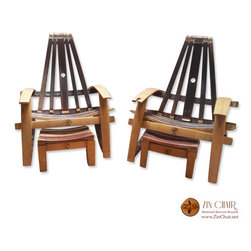 Two Adirondack Chairs & Zin Footrest - Wine Barrel Chairs - By Zin Chair - Wine Barrel Furniture - Adirondack Chairs in Ventura County CA - http://www.zinchair.net/wine-barrel-furniture/chairs/