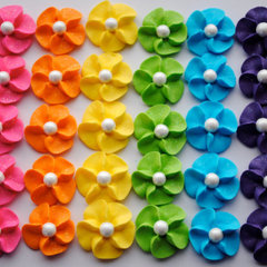 Royal Icing Flower Cupcake Toppers 30 Rainbow by cupcakesbychristy