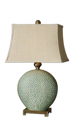 Uttermost - Destin Ceramic Table Lamp - This table lamp will raise goose bumps every time you admire its beauty. The dripped aquamarine finish is glazed with tan undertones. The rectangular linen shade is perfectly accented by the coffee bronze metal feet and finial.