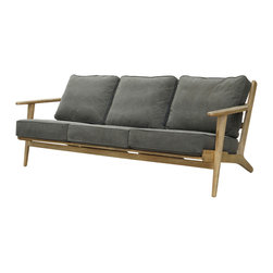 Marco Polo Imports - Klee Sofa - Modern sofa with clean lines and a retro vibe.  Solid wood frame and stonewashed dark green canvas upholstered cushions.