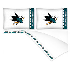 Sports Coverage - NHL San Jose Sharks Hockey Queen Bed Sheet Set - FEATURES: