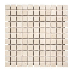 "Marbleville - MSI Crema Marfil 1"" x 1"" Tumbled Marble Mosaic  in 12"" x 12"" Sheet - Premium Grade Crema Marfil 1"" x 1"" Tumbled Mesh-Mounted Marble Mosaic is a splendid Tile to add to your decor. Its aesthetically pleasing look can add great value to the any ambience. This Mosaic Tile is constructed from durable, selected natural stone Marble material. The tile is manufactured to a high standard, each tile is hand selected to ensure quality. It is perfect for any interior/exterior projects such as kitchen backsplash, bathroom flooring, shower surround, countertop, dining room, entryway, corridor, balcony, spa, pool, fountain, etc."