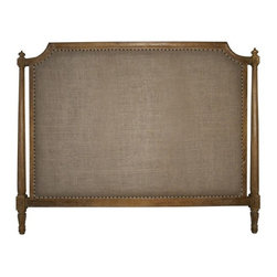 NOIR - NOIR Furniture - Isabelle Headboard - GBED108, Grey Wash, Queen - Featuring natural, simple and classic designs, Noir products supply a timeless complement to a variety of interiors. The traditional Isabelle headboard elicits an air of modernity with burlap upholstery. Round nailhead trim and the frame's intricate detailing attract the eye, while a hand-rubbed black finish over mahogany wood delivers to bedrooms a true richness. Available in several sizes. Headboard stands flush to the wall versus attaching to a standard bed frame. Finish will feature distressed characteristics.