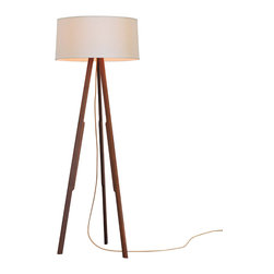 Ample - Solstice Floor Lamp, White Shade / Gold Cord - This is it - the modern tripod lamp done right.