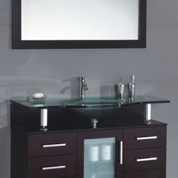 "Modern Contemporary Bathroom Vanity w/ Clear Glass Sink, Espresso, 42"" - Cabinet is made out of  Pure Oak Wood"