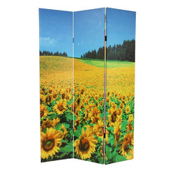 Oriental Furniture - 6 ft. Tall Floral Double Sided Room Divider - Bright floral decorative screen featuring two photographs of a flower farm in full bloom. Sunflowers cover one side, fading into the distant forest. The other side features a variety of vibrantly colored flowers in long rows. Use as a decorative background or room divider in the living room, kitchen or study.
