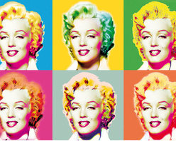 Visions Of Marilyn Wall Mural - True pop art is the fashionable theme of this vibrantly colored wall mural featuring the iconic Marilyn Monroe.