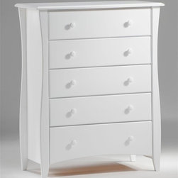 Night & Day Furniture - Bedroom Chest in White w Five Drawers - Crisp, clean white chest of drawers brings the look and feel of a beach-inspired cottage to your bedroom. Smooth finish is durable and practical for the way you live. Features five drawers for clothing, accessories and more. Curved legs add a modern twist to this classic beauty. 100% Malaysian Rubberwood construction. Shown in White. 38 in. W x 18.5 in. D x 47.12 in. HOur Clove 5 Drawer Chest pleases with its stately look, and gives you fabulous storage while taking up minimal floor space. The long curves of its tall legs may be its finest feature. All Spices Bedroom Collection items come with a limited 10 year warranty.