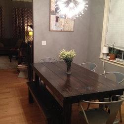 "6' Eclectic Farmhouse Table - 6' x 37"" x 30"" Farmhouse Dining Table in Midnight (ebony) stain."