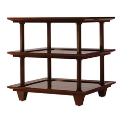 Baker Furniture - Three Tiered Table - This multi-functional, three tiered table is created for any room in the house.  In mahogany with a relaxed finish, it is perfect next to your best reading chair, or stacked with anything from books to towels.
