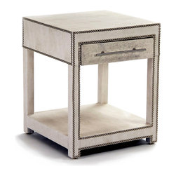 Astoria Nightstand - Off White - Transitional lines outline a cube-shaped under shelf space in this statement one-drawer bedside table, the Astoria Nightstand. Updated hardware in a satin nickel finish contrasts with the surface texture, made from hair-on hide in an arctic off-white pattern. Outlined in nail head trim, this unique piece adds a note of the personalized and unconventional to your bedroom.