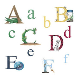 York Wallcoverings - Alphabet Letters 73pc Self-Stick Wall Accent Stickers Set - FEATURES: