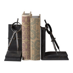 Sterling Industries - Compass Bookends Decorative Accessory in Restoration Rusted Black - Compass Bookends Decorative Accessory in Restoration Rusted Black by Sterling Industries