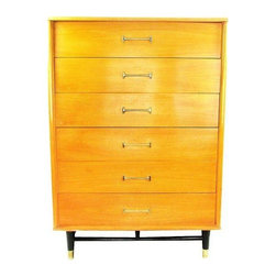 """Used Drexel Dresser by Milo Baughman - Six-drawer dresser by Drexel with iconic gold-tone dogbone pulls and a sleek Mid-Century Modern base. It was confirmed by Drexel Heritage to be from the """"New Today's Living"""" collection which was designed by Milo Baughman in 1955. The piece is signed with the Drexel brand details inside the top shelf. There is moderate wear to the finish and hardware, but overall it's in good vintage condition."""