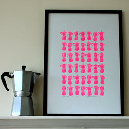 Neon Pink Moka Express Print by Mengsel Design - The bright repetition of coffee makers in this print makes for a graphic piece good for a kitchen wall.