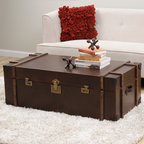 None - Journey Vintage Tobacco Leather Trunk Coffee Table - Enhance your home,living or bed decor with the uniquely styled Journey trunk coffee table. With a soft,durable cover and spacious interior,this timeless table is perfect for hiding storage and adding a touch of rustic style to any room.