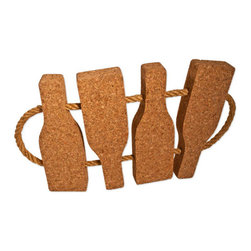 The Felt Store - Cork Trivet With Rope-Bottles (200 X 240 X 25mm) - The Felt Store's Cork Trivets with Rope - Bottles are a great eco-friendly addition to your kitchen and dining areas. This naturally stylish trivet features a neat rope handle and is cut into the shape of bottles. This adds character, flare and individuality to your kitchen and dining area! Made of 100% fine grain cork the trivet is an essential part of the kitchen and dining collection for the eco-conscious! This Cork Trivet with rope is a perfect way to protect your table and various surfaces from hot pots, pans and dishes in your kitchen and dining area! Serve your food in style with our Cork Hot Trivets available in different shapes and sizes and can be easily stored away in any drawer or hung on the wall as art! This product can be wiped clean with a damp cloth. This product is approximately 8 inches long, 10 inches wide and 1 inches thick in dimension.