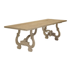 Kathy Kuo Home - Nantes French Country Carved Reclaimed Elm Wood Dining Table - Modern meets baroque in this intriguing dining table. Stately scrolled legs are way old-world while the natural oak finish is totally laid back — perfect for your tradition-with-a-twist decor.