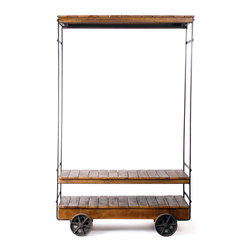 Almira Rolling Garment Rack - Transform your favorite fashion numbers into a chic display with this rolling garment rack. Perfect for shoes and accessories, three slatted mango wood shelves give you plenty of storage space while providing chic contrast to its steel frame. Oversized wheels top off the look for an especially industrial touch.
