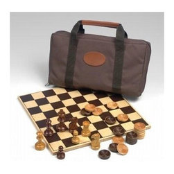 Drueke - Drueke Travel Series Chess & Checkers Board - Includes checkers, chess men, playing board and cordura bag. Board & checker pieces are made of wood. Chessmen are made of plastic. For ages 13 and above. Made in USA. 1.375 in. Playing squares. 2 .5 in. Plastic chessmen. Board: 12 in. L x 12 in. W