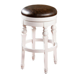 """American Heritage - American Heritage Tuscana Stool in Antique White with Tobacco Upholstery - 26"""" - Classic backless wooden stool that's anything but ordinary. With elegantly shaped legs finished in antique white with a Tobacco upholstered seat, the visual contrast is bold without being overpowering. Features include full-bearing 360� swivel, adjustable leg levelers, mortise and tenon construction and webbed seating."""