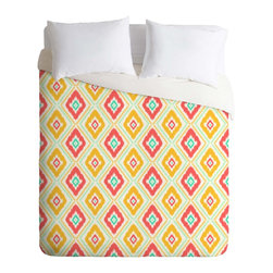 DENY Designs - DENY Designs Jacqueline Maldonado Zig Zag Ikat White Duvet Cover - Lightweight - Turn your basic, boring down comforter into the super stylish focal point of your bedroom. Our Lightweight Duvet is made from an ultra soft, lightweight woven polyester, ivory-colored top with a 100% polyester, ivory-colored bottom. They include a hidden zipper with interior corner ties to secure your comforter. It is comfy, fade-resistant, machine washable and custom printed for each and every customer. If you're looking for a heavier duvet option, be sure to check out our Luxe Duvets!
