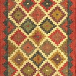 Rugsville Southwester Diamond Beige Red 13731 Wool & Jute Rug - Rugsville Southwestern flat-weave reversible collection features a series of southwestern diamond design. Hand-woven in India, these rugs are produced from the finest wool and jute with unique patterns designed to liven any room. Each piece is completely handcrafted and finished in India.