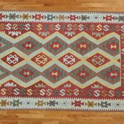 Kilim Qasqagi - 100% Wool Flat Weave 4'2'' X 6'9'' Marvelous Brick Red Kilim Oriental Area Rug.