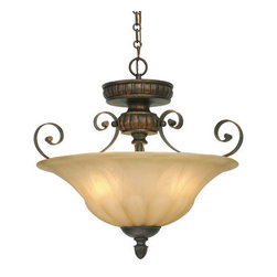 Golden Lighting - Golden Lighting 7116-SF-LC Mayfair 3 Light Semi-Flush Mount, Leather Crackle - Mayfair Convertible Semi-Flush in the Leather Crackle finish