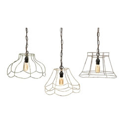 "IMAX CORPORATION - Crestly Wire Lamp Shade Pendants - Set of 3 - Designed to showcase the wire framing, the Crestly pendants beautifully enhance vintage-style Edison bulbs to add a warm glow to any room. Set of 3 in various sizes measuring around 15.5""L x 15.5""W x 17""H each. Shop home furnishings, decor, and accessories from Posh Urban Furnishings. Beautiful, stylish furniture and decor that will brighten your home instantly. Shop modern, traditional, vintage, and world designs."