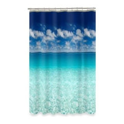 Maytex Mills, Inc. - Escape Ocean View 70-Inch x 72-Inch Shower Curtain - Step behind this stunning photo-art shower curtain, and you'll suddenly be in a sparkling tropical ocean, gazing up at fluffy clouds.