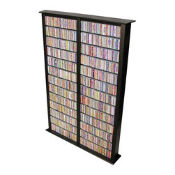 Venture Horizon - Venture Horizon Double 76-Inch Tall CD DVD Wall Rack Media Storage-Black - Venture Horizon - CD and DVD Media Storage - 241221BL - This stalwart modern media storage unit is all about functionality. Crafted of durable composite wood with melamine laminate in your choice of colored finish this minimalist multi-functional design will blend easily into any contemporary home.