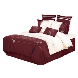 Bed Linens - Olivia 7-Piece Duvet Cover Set, Queen - Impressions Collection, Olivia Duvet Cover Set brings a casual elegance to your bedroom's decor. A delicate branch design evokes the essence of casual elegance.