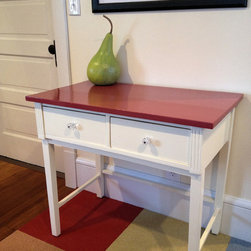 """Office Table - An existing antique accent table is repainted and finished to fit an eclectic home office space.  The """"pear"""" is a painted dried gourd."""