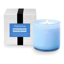 House and Home Delphinium / Dressing Room Candle - The sky blue art glass vessel holds a candle that delights with a feminine floral fragrance. The House and Home Delphinium / Dressing Room Candle entices with a delicate blend of spring apple blossom, gentle gardenia, and delicate delphinium. A wonderful enhancement to the ambiance of a boudoir or spa bath.