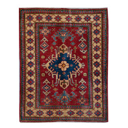 """ALRUG - Handmade Deep Red Oriental Kazak Rug 3' 5"""" x 4' 4"""" (ft) - This Afghan Kazak design rug is hand-knotted with Wool on Cotton."""