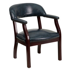 Flash Furniture - Flash Furniture Navy Vinyl Luxurious Conference Chair - B-Z105-NAVY-GG - This elegant reception/conference chair features upholstered arms, a contoured back, a solid hardwood mahogany frame, and individual brass nail head trimming. This chair will complement reception areas, libraries or your office as a guest chair. [B-Z105-NAVY-GG]