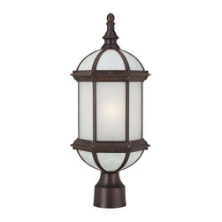 Nuvo - One Light - Outdoor Post Mount - Rustic Bronze Finish with Frosted Beveled Glass - Shade: Frosted Beveled Glass.  Energy Star Rated.  UL certified: Wet Location.  Bulb Information: 1 x 18w-GU24 Base T3 Mini Spiral Fluorescent (Bulb is included). . Color/Finish: Rustic Bronze. 8 in. W x 19.25 in. H (3 lbs)Energy efficient exterior lighting has never looked so good!  The Boxwood collection's open design and frosted glass gives the feeling of delicacy as well as an understated air of gracefulness.  This collection is offered in white, rustic bronze, and textured black and features a wide breadth of application solutions.  This stately collection's effortless and elegant design is sure to deliver a great first impression of your home.  Energy saving GU24 base CFL's are included with these fixtures.