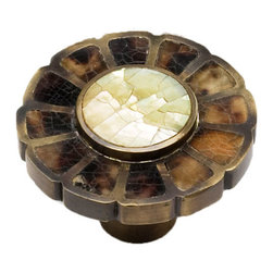 Heirloom Treasures Solid Brass Flower Motif Knob - The yellow mother of pearl and pen shell ...