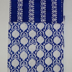 """Indigo blue batik, shibori, tie-dye and block print - Set of three assorted indigo block printed towels with corner loops. 100% cotton sheeting. Each is 20"""" x 30"""". Made in India. Great holiday or hostess gift."""