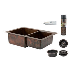 "Premier Copper Products - 33"" Hammered Copper Kitchen 60/40 Double Basin Sink w/ Matching Drains, & Access - PACKAGE INCLUDES:"