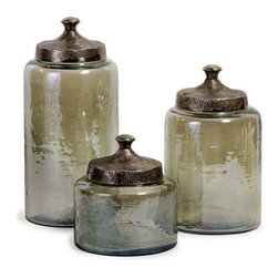 Round Green Luster Canisters - Set of 3 - Attractive round hammered luster glass canisters with hammered nickel lids.