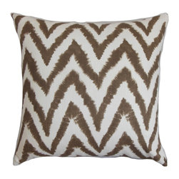 """The Pillow Collection - Kingspear Zigzag Pillow Brown White 18"""" x 18"""" - Add texture and dimension to your room with this bold throw pillow. The zigzag pattern comes in a rich brown hue giving this accent pillow a warm feel. This decor pillow is easy to combine with solids and other patterns. Toss this 18"""" pillow on your sofa, bed, floor or seat to lend comfort and style. Made 100% high-quality cotton fabric. Hidden zipper closure for easy cover removal.  Knife edge finish on all four sides.  Reversible pillow with the same fabric on the back side.  Spot cleaning suggested."""