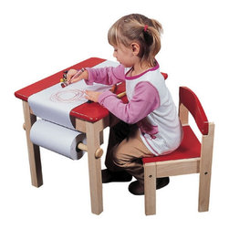 """Guidecraft - Red Art Table & Chair Set - This solid wood table can be used for a number of different projects. This table can be used for coloring, painting and drawing. A paper roll caddy and a child-friendly paper cutter are mounted on the side of the table. The desk chair is included. Features: -Includes activity area and a paper roll caddy with child-safe cutter -Comes with one roll of paper and the desk chair -Some assembly required -For children of all ages -Seat height 12"""" -Table dimensions: 19.00"""" H x 21.50"""" W x 17.50"""" D"""