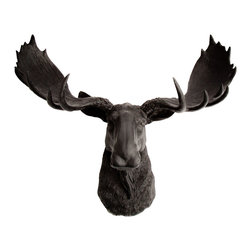 White Faux Taxidermy - The Oddley - Antique White Faux Resin Moose Head, Black - Measurements: