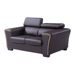 Global Furniture - Global U7190-L6R-L Loveseat w/ Headrest in Chocolate and Dark Cappuccino Leather - A very sleek and elegant design and perfect for all living spaces this full leather loveseat finished in chocolate and dark cappuccino is just what you need. Featuring moveable headrests, comfortable and spacious seating, wide arms and wooden legs, you get style and comfort in one contemporary design