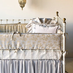 Bella Notte Crib Bumper Colette Satin Jacquard - This breathtaking bumper by Bella Notte gives a slight sheen and a hint of the orient with its intricate detail. This gold floral jacquard on satin made from 60% viscose and 40% acetate will have you gasping with delight.