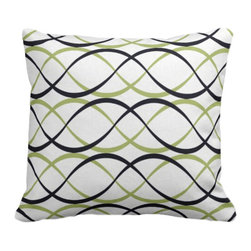 PURE Inspired Design - Dune Organic Pillow Cover, Lime/Ink/Natural, 18 X 18 - Collection:  PURE Beach